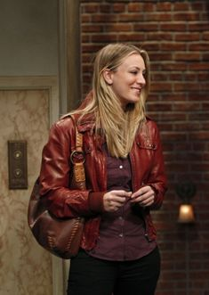 Penny's burgundy leather jacket and brown leather bag on The Big Bang Theory. Outfit details: http://wornontv.net/800/