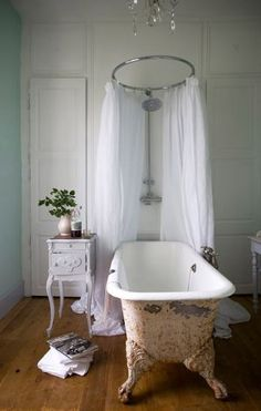 Clawfoot bathtub. The peeling layers on the outer surface...beautiful!