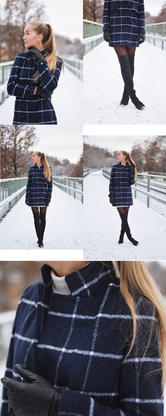 Classic & Terrific: Navy Grey Lapel Plaid Double Breasted Coat at shein .Plaid and navy can't be left in winter .