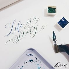 Day 6 on #dailycalligraphy  Using sap green and Ultramarine blue from Holbein watercolor.. . . . #moderncalligraphy #calligraphylove #calligraphy #tdcjunechallenge2017 #copperplatecalligraphy #copperplate #handlettering #brushlettering #artoftype #goodtype #dailytype #belmenid #kaligrafina