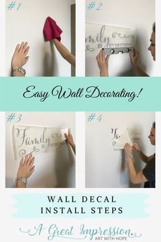 Wall decorating made easy! Apply your decal in simple 1-2-3 steps. Each order comes with instructions, application tool and most of all ... a phone call away with us if you have any questions!  #walldecalinstallation #decalhangingsteps #howtohangawalldecal #howtoinstalldecal