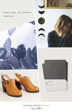 Inspiration board. Navy blue, astrology, slingback shoes. Blog — June Letters Design