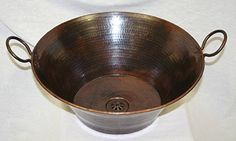 """SimplyCopper 16"""" Round Hand Hammered Copper Cazo Vessel S..."""