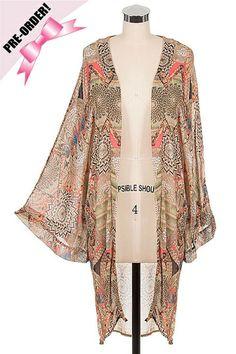 *** New Style *** Chic Oversize Chiffon Cardigan with Kimono Sleeves in Exotic Mixed Boho Pattern Print.