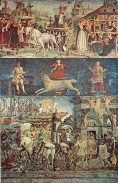 Francesco del Cossa ~ Allegorie van de maan maart - Triomf van Venus en Het sterrenbeeld Ram ~ ca. 1468-1470 ~ Fresco ~ 500 x 320 cm. ~ Palazzo Schifanoia, Ferrara