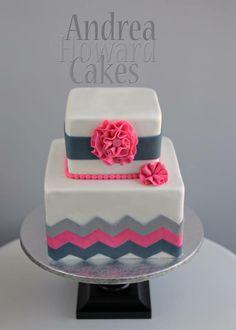 Gray & Pink Chevron Square Cake