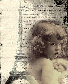 Vintage printables - Little girl background