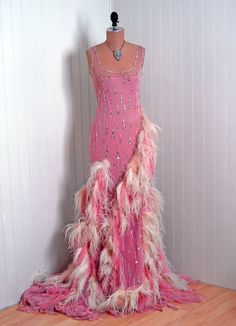 1960's Vintage Pink Crepe-Chiffon & Sequin Sheer-Mesh Couture Low-Plunge Hourglass Draped Ostrich-Feathers Bombshell Full-Length Gown Dress