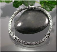 Larg Fine Silver Viking Knit BANGLE Bracelet by by MustHaves, $89.99