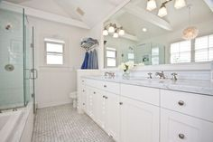 Cottage Full Bathroom with Carrara white basketweave mosaic tile w/ gray dots honed - marble from italy, Undermount sink Carrara Marble Bathroom, Carrara Marble Countertop, Calacatta, Marble Floor, Bad Inspiration, Bathroom Inspiration, Bathroom Ideas, White Bathroom, Master Bathroom