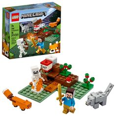 Buy LEGO Minecraft - The Taiga Adventure at Mighty Ape NZ. With Minecraft features and figures for players to build, modify and enjoy, this fun-packed LEGO® set encourages kids to step away from the computer a. Lego Minecraft, Minecraft Houses, Minecraft Skins, Minecraft Drawings, Minecraft Crafts, Minecraft Ideas, Lego Ideas, Minecraft Activities, Lego Games