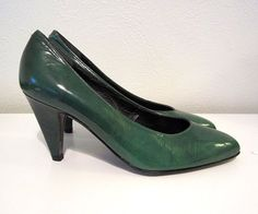 Enzo Angiolini Vntg Dark Green Black Italian Leather Classic Pump Heels Shoes 6M  | eBay