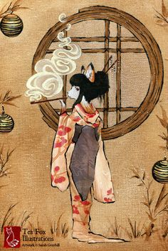 Kitsune Geisha, Fox Art, Kimono, Yokai, Japanese Art 4x6 Fine Art Print