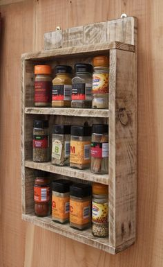 Wooden Spice Rack Wall Mount Endearing Spice Rack  Storage For Spices  Rustic Wood  Kitchen Storage