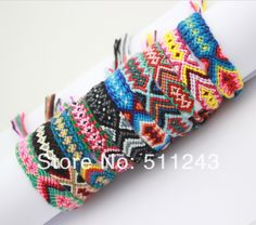Hippy boho surf wristband mens ladies jewellery Embroidery cotton FRIENDSHIP BRACELET