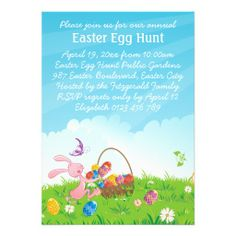 Cute Pink Easter Bunny Easter Egg Hunt Cards