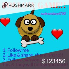 FOLLOW GAME!! Let's all grow our followers together! We ALL need more followers right? It's easy to play follow games! 1) Follow me please 2) Like & share this post (the more shares, the more followers) 3) Follow everyone who likes this post 4) Watch your followers grow! 😁 Accessories Belts