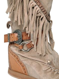 EL VAQUERO - 70MM SILVERSTONE FRINGED WEDGED BOOTS - BOOTS - BEIGE - LUISAVIAROMA