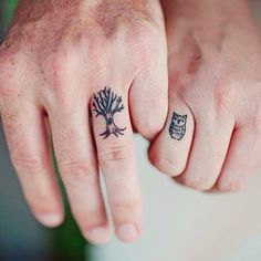 Small Owl And Tree Tattoo On Couple Finger