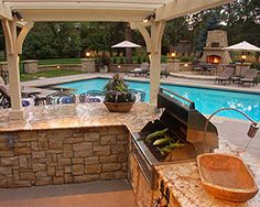 nice Outdoor Kitchen and pool area