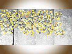 Original acrylic painting modern wall art yellow by QiQiGallery