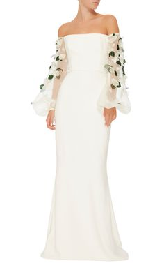 Elizabeth Kennedy ~ ~ ~ Off-The-Shoulder White Gown With Sheer White Organza Embellished Full-Length Puffy  Sleeves with Green Leaves and White Gardenia type flowers with pearl & crystal centers.  The dress itself is fully lined.   ||| Moda Operandi.com |||.