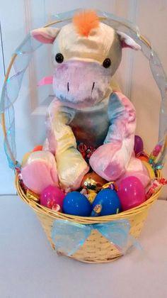 $30 @Ebay  Multi-Color LG Plush Zebra EASTER GIFT BASKET  #Easter