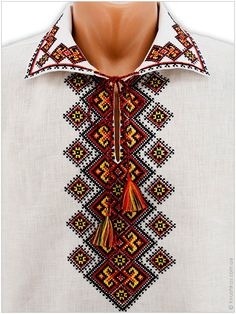 Чоловіча біла вишиванка з яскравим богатирським з вишитим орнаментом низом - Товари - Замовити чоловічі, жіночі та дитячі вишиванки в Україні - Укрбізнес