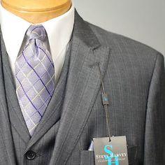 42L Steve Harvey 2 Button Gray Striped 3 Piece Suits 42 Long XA31 ...