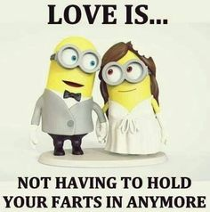 Love Is Not Having To Hold Your Farts In Anymore love love quotes funny quotes quote funny quote funny quotes funny sayings humor minion minions minion quotes