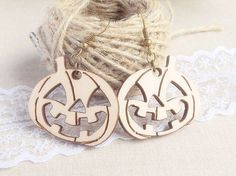 """Halloween Earrings made from wood. * Dimension: pumpkin diameter 3.4cm / 1.3"""", lenght 2.7cm / 1.1"""", thickness 3mm / 0.11"""". Total earring lenght with hook is about 5cm / 2"""". * Materials: wood, antique bronze earring hook. * It will come nicely gift wrapped."""