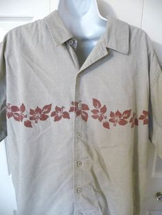 Eddie Bauer Mens Hawaiian Shirt L Large Hibicus Khaki Green  Short Sleeve #EddieBauer #ButtonFront