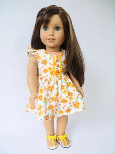 Spring Shine Dress: A New Sewing Pattern for 18 inch Dolls by Oh Sew Kat! 18 inch doll dress sewing pattern by Oh Sew Kat! Spring Shine Dress and Top PDF pattern to sew your own doll clothes. Doll Dress Patterns, Doll Sewing Patterns, Clothing Patterns, Girl Doll Clothes, Girl Dolls, Og Dolls, Cute Dresses, Flower Girl Dresses, Doll Dresses
