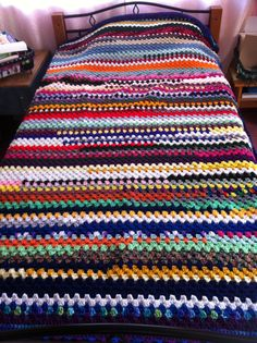 This is a Blanket I made out of scrap yarn , I figured if Dolly can have a coat of many colors I can have a blanket of many colors.
