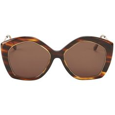 Illesteva Terry Hexagon Frame Sunglasses  Tortoise ( 220) ❤ liked on  Polyvore featuring accessories c25c7fd35e27a