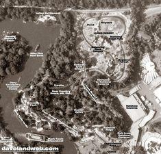 """Frontierland Aerial Map of """"The Mine Train Through Nature's Wonderland"""" in Disneyland, 1965   davelandblog"""