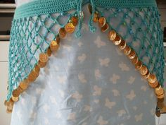 Beaded bellydancing hip scarf with coins