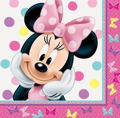Minnie Mouse Beverage Napkins, By Disney Arte Do Mickey Mouse, Minnie Mouse Drawing, Minnie Mouse Cartoons, Minnie Mouse Favors, Minnie Mouse Theme Party, Minnie Mouse Pink, Minnie Birthday, Mickey Mouse And Friends, Mouse Parties
