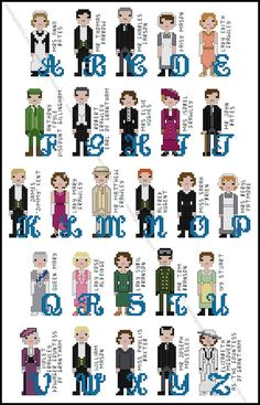 Downton Abbey inspired Character Alphabet Cross by FangirlStitches