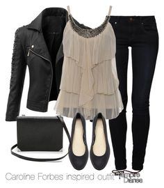 """Caroline Forbes inspired outfit/The Vampire Diaries"" by tvdsarahmichele on… Look Fashion, Autumn Fashion, Fashion Outfits, Womens Fashion, Fashion Trends, Vampire Diaries Fashion, Casual Outfits, Cute Outfits, Hippie Look"