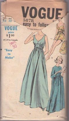 MOMSPatterns Vintage Sewing Patterns - Vogue 5878 Vintage 60's Sewing Pattern GORGEOUS Grecian Goddess Wrap Straps Sweetheart Neckline Sweeping Floor Length Nightgown, Peignoir Robe, Shortie Nightie Negligee, Bloomer Panties, Bouffant Curler Sleep Cap Size 12