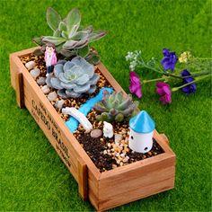 Pot Trays Gardening Zakka succulent plants wood flowerpot cactus bonsai flower pot trays natural wooden succulent plant flower bed pot box garden planter succulents pots kt0176 workwithnaturefo