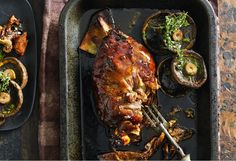 Maple syrup, soy and mustard make a wonderful marinade for this slow-cooked shoulder of lamb.