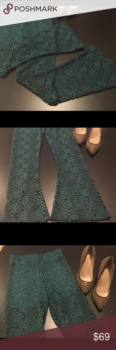 "Show Me Your Mumu Bam Bam Bells, Gorgeous! Head turning, unique & eye catching, Mumu lacy pants with built in shorts. Absolutely perfect color and style for upcoming holiday parties! They have a 2&1/2"" stretchy waistband, waist is 13&1/2"" flat, stretches to 15&1/2"". Total length is 41"", inseam is 28"" & bottom of legs are flared. Hips are 15"" measured flat. Built in shorts. Hand washable or dry clean. These are a great deal at this price but I always consider reasonable offers. Size is Medium…"
