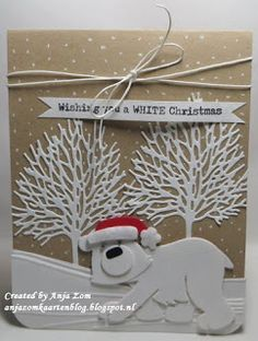 Handmade card by DT member Anja with Design Folder Winter Landscape (DF3421), Craftables Tiny's Tree & Leaf (CR0375) and Collectables Eline's Polar Bear (COL1370) from Marianne Design