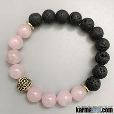 HEALING HEART: Rose Quartz | Lava | Gold Pave | Yoga Chakra Bracelet