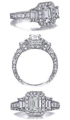 Emerald Cut Diamond Engagement Ring Trapezoids sides graduated pave band
