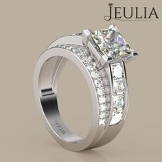 Princess Cut Created White Sapphire Engagement Ring
