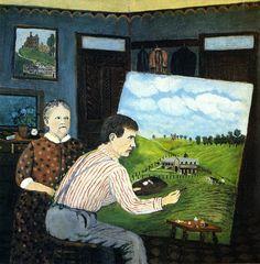 John Kane  [Scottish-born American Folk Artist, 1860-1934]  John Kane and His Wife, circa 1928