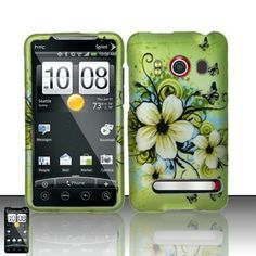 HTC Evo 4G Accessory - Green Hibiscus Hawaii Flower Design Protective Hard Case Cover for Sprint